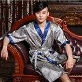Hombres bata de seda túnica media manga masculina de la flor del verano ropa de dormir camisón conjunto loung