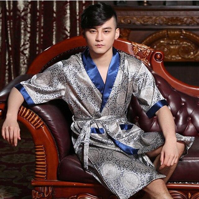 Summer men silk bathrobe half sleeve male robe  flower sleepwear nightgown loung set