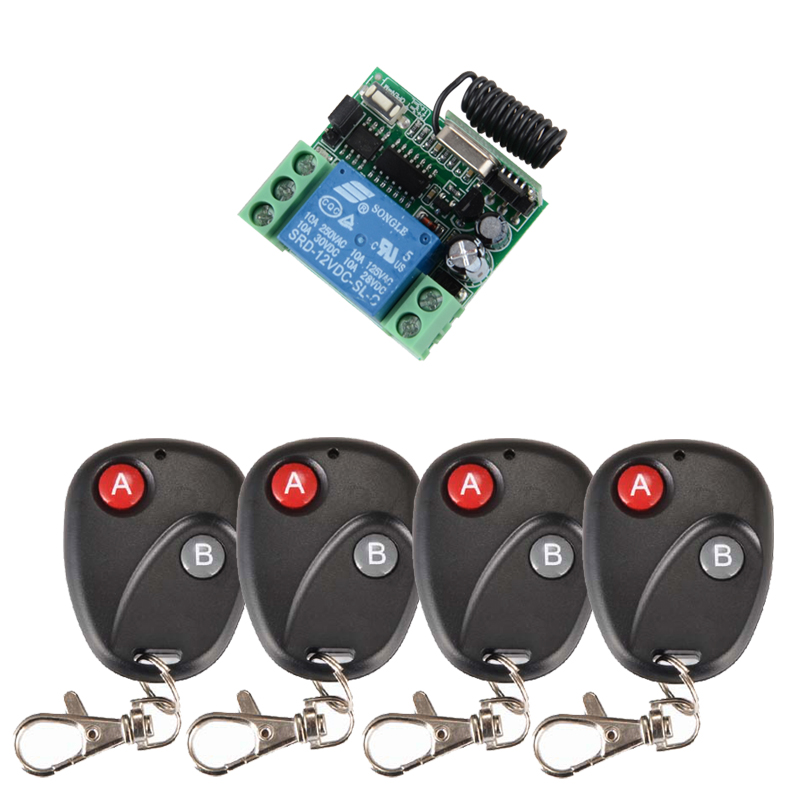 RF 4PCS Transmitter Receiver DC 12v 10A 1CH wireless RF Remote Control Switch System +Case For Entrance guard , Lighting System free shipping 12v 1ch learning code wireless remote control switch system 1 receiver and 1 transmitter for entrance guard door