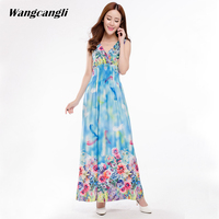 Wangcangli 2017 Summer Hot Sale Europe And America Casual Style Big Size Cold Beach Sleeveless Dress