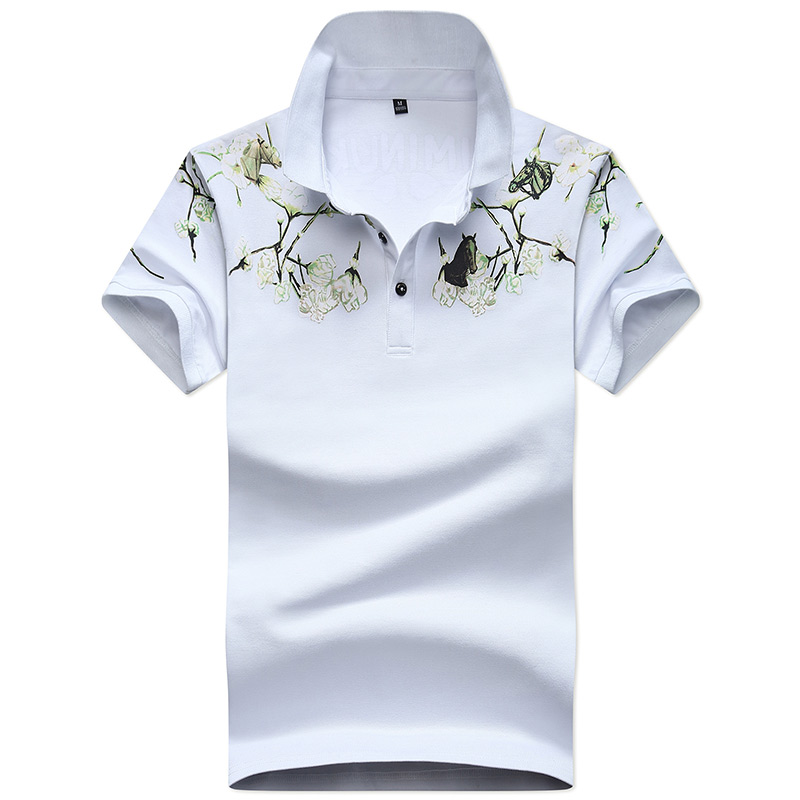 2018 Men white Polo Shirt Summer Short Sleeve Polos Shirt Mens Print Camisa Polo Man Cotton Fashion Men's Clothing Tops & Tees