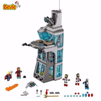 Decool 7114 Super Heroes Aegis Bureau headquarters Attack On Tower Brick Building Block Compatible with Legoings Avengers