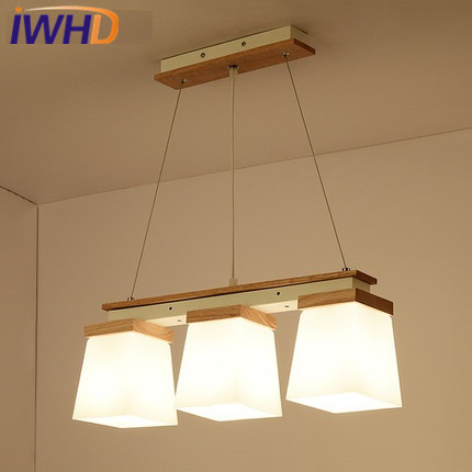 IWHD Glass Hanglamp LED pendant Lights 3 Heads Iron Modern Hanging Lamp Bedroom Kitchen Wood Luminaire Suspendu Home Lighting