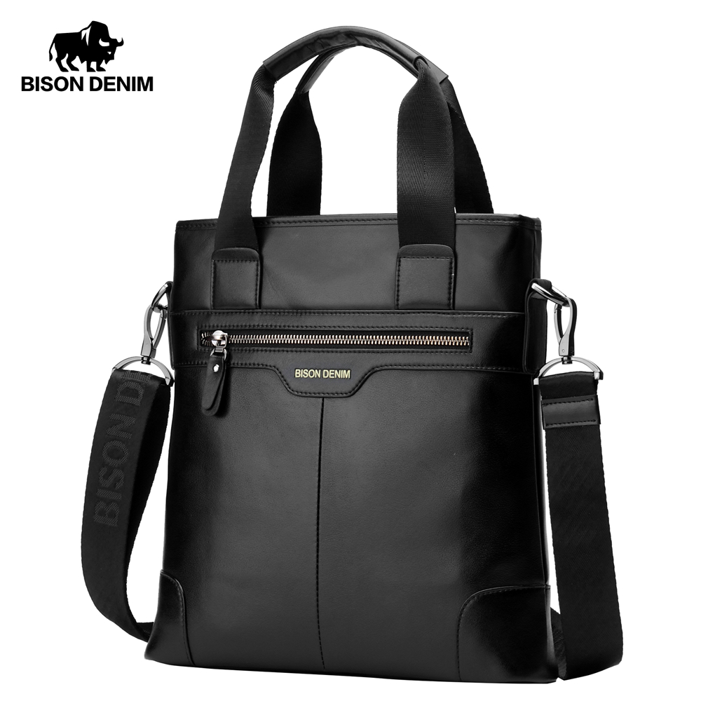 BISON DENIM Genuine Leather Handbag Men Business Messenger Bag iPad cow leather Shoulder Bag Crossbody Male