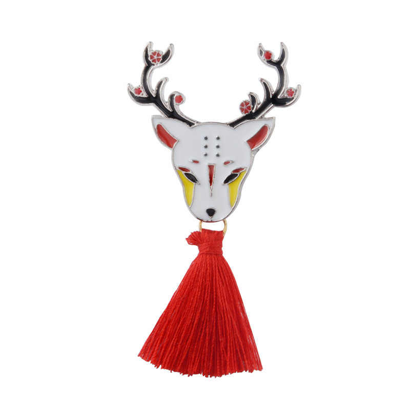 Vintage Animale Della Lega Nappa Spilla Giapponese Ninja Coniglio Fire Fox Serpente Kendo Sika Cervo Smalto Spille Zaino Distintivo Consegna Gratuita