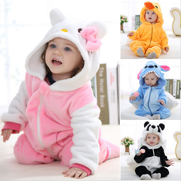 Animal baby rompers boys girsl kitty Cartoon pink Jumpsuit Pajamas warm Autumn Winter Children coral fleece Macacao de bebe 2018 2016 brand new baby girls rompers fleece body warmer coral velvet pink monkey pajamas sleepwear comfortable outfit free shipping