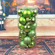 SOLEDI 24Pcs/Set Christmas Tree Ball Bauble Festival Home Xmas Hanging Ornaments Plastic 4CM Wedding Decoration Party Decoration