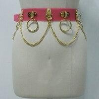 100% Handmade Unisex Men Women Waist Belt Blood Pink Jelly Vinyl Harness PVC Gold Silver Circle with Chain Link Waist Straps