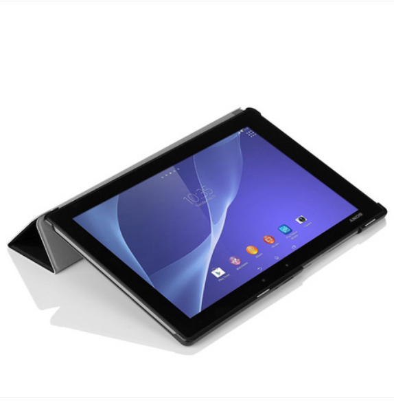 Sony Xperia Tablet Z2 + PC Stand үшін түпнұсқалық стилі былғары қапшық Magnetic Smart Cover + Screen Protector + Touch Stylus Gift