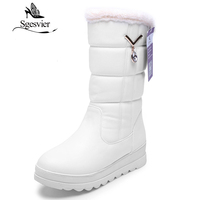 SGESVIER Women Shoes Winter Mid Calf Boots Warm Snow Boots Round Toe Waterproof Lady Cotton Shoes