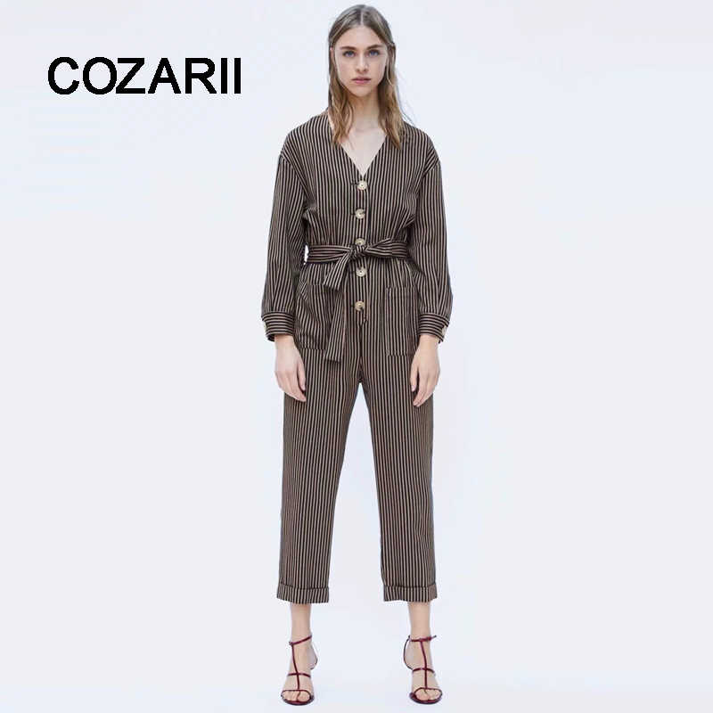 COZARII faminino jumpsuits england style striped v-neck single breasted sashes bow jumpsuits suits 2018 women plus size