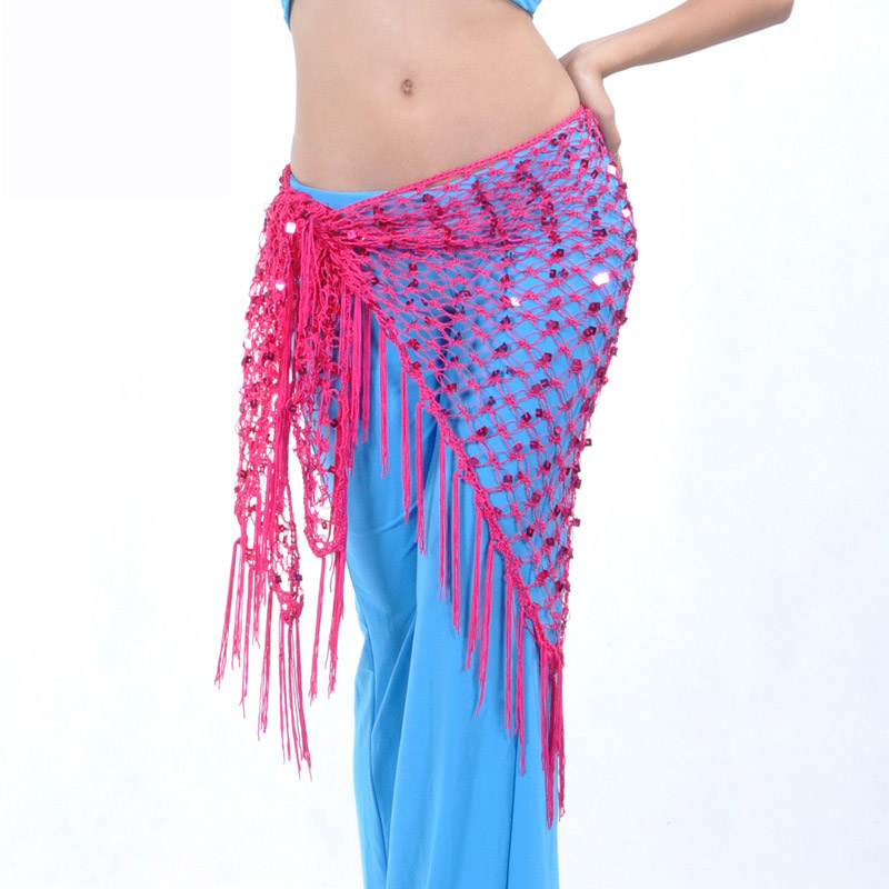 Belly Dance Waist Chain Hip Scarf Sequins Bandage Dance Belt 10 Colors For Your Choice B-001