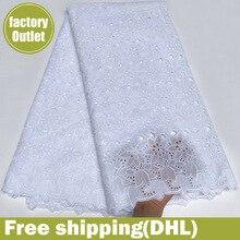 Nigeryjczyk koronki tkaniny 100% szwajcarski bawełniany woal z koronką afrykańska tkanina na suknię ślubną 5 stoczni/dużo 5816