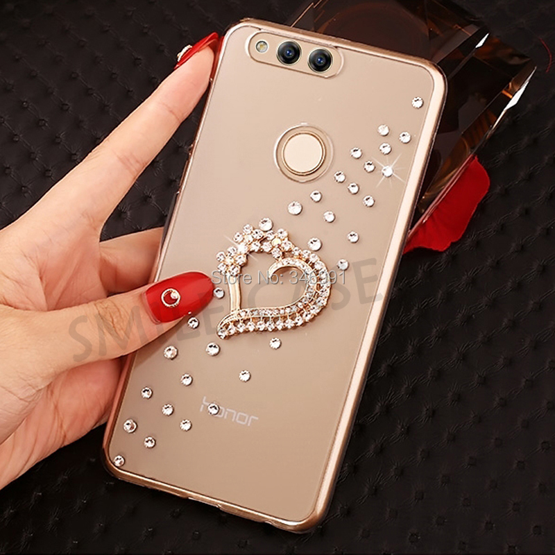 Funda for Huawei <font><b>honor</b></font> <font><b>7X</b></font> Cases 4gb 32gb <font><b>64gb</b></font> 128gb Clear plastic Rhinestone Cover for Huawei <font><b>honor</b></font> <font><b>7X</b></font> BND-TL10 BND-AL10 BND-L21 image