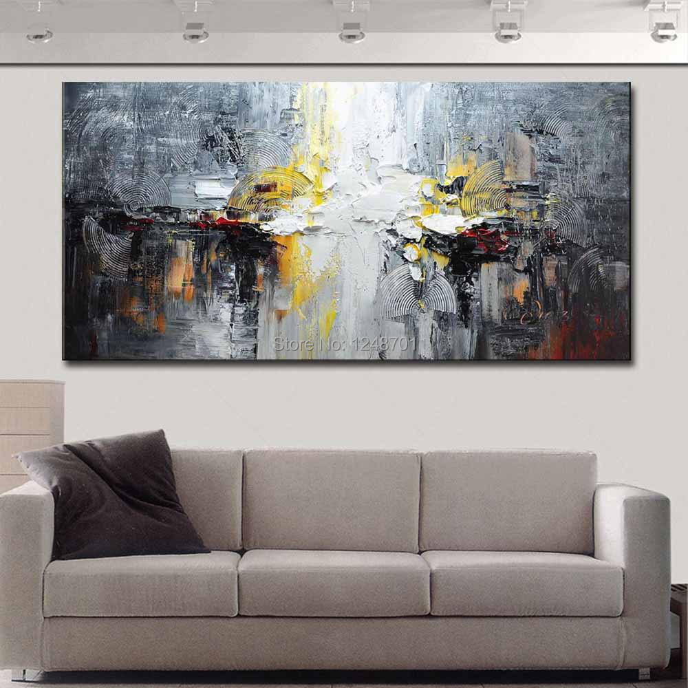 Купить с кэшбэком Large Size Hand Painted Abstract Impasto Oil Painting on Canvas Abstract Wall Picture Living Room Bedroom Home Wall Art Decor