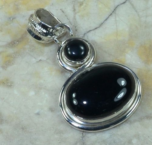 Hand make  Genuine Black Onyx Pendant , 100% 925 Sterling Silver,  35mm,  6.4g