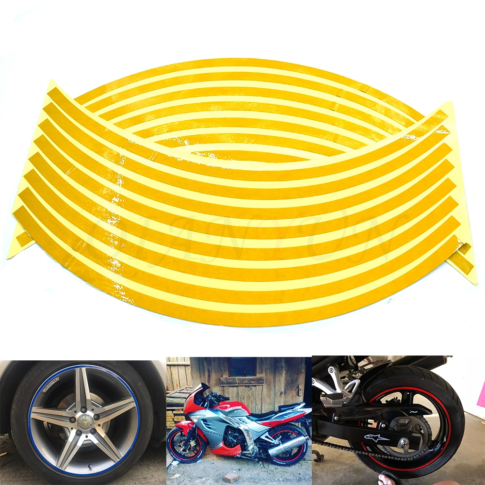 Motorcycle Scooter Quad 7mm Stripes Reflective Tape Dark Blue For Wheel Tyre