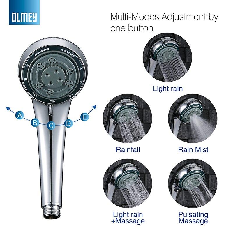 OLMEY 5 Functions Single Handheld Shower Head Massage Mist Hand Shower Full Chrome Polish 21005