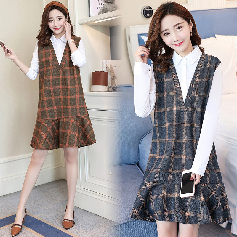 2018 Autumn Fashion Maternity Dress with Nursing Loose Clothes For Pregnant Women Nuring Pregnancy Plaid Straight Dresses2018 Autumn Fashion Maternity Dress with Nursing Loose Clothes For Pregnant Women Nuring Pregnancy Plaid Straight Dresses