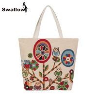 Summer Canvas 2017 Embroidery Bags Animals Flowers Travel Beach Tote Bag For Women Owl Beach Bags