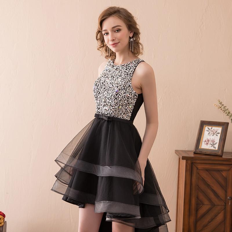 8e7c015a725d 2018 Elegant Woman Short Cocktail Dress Silver Sequin High Low Black Tulle  knee Length Summer Party Dresses Front Short Low