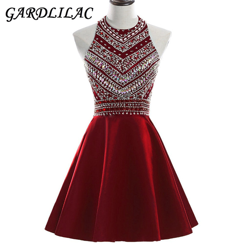 Gardlilac Halter Short Homecoming Dress 2017 Stain Beading Short Party Dress Red Black Blue Prom Evening Gowns