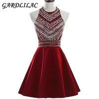 Gardlilac halter short homecoming dress 2017 stain beading short party dress red black blue prom evening.jpg 200x200