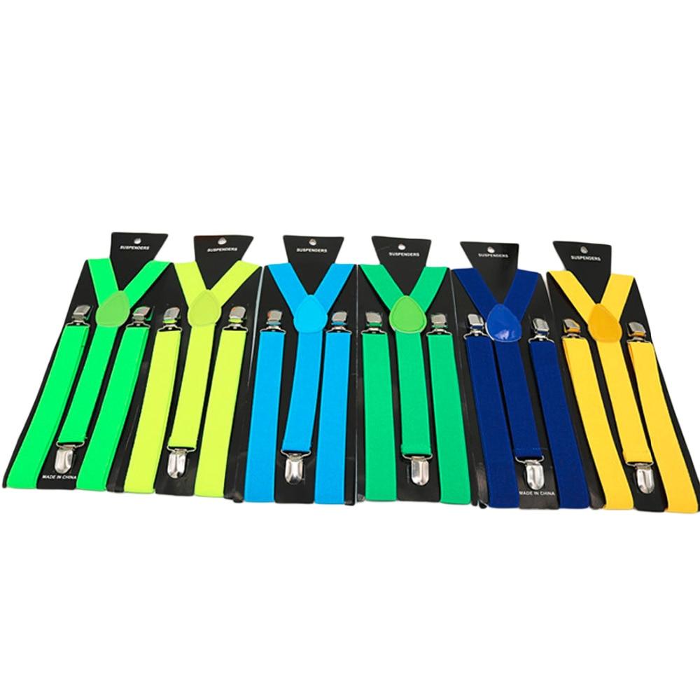 1PCS New Mens Womens Unisex Clip-on Suspenders Elastic Y-Shape Adjustable Braces Solids 25*100cm Colorful 2018 HOT