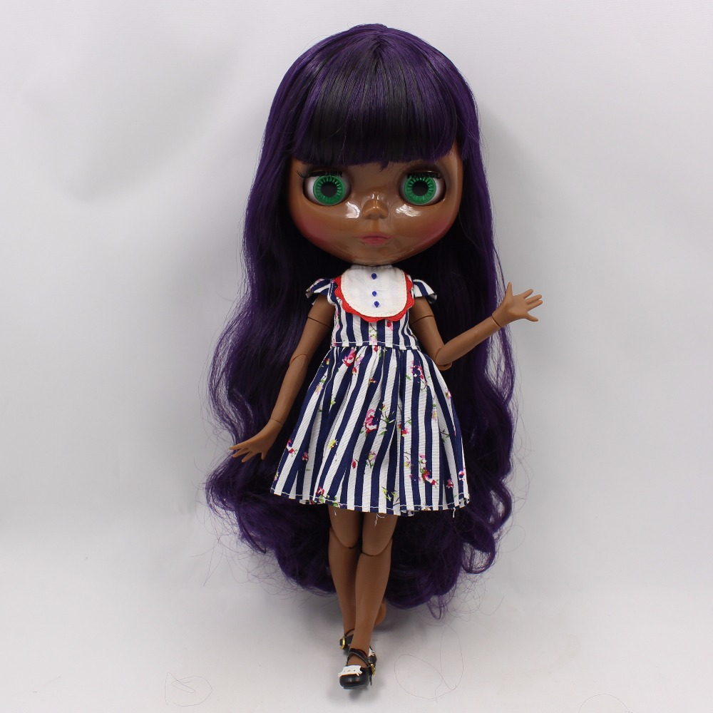 Neo Blythe Doll with Purple Hair, Black skin, Shiny Face & Jointed Body 3