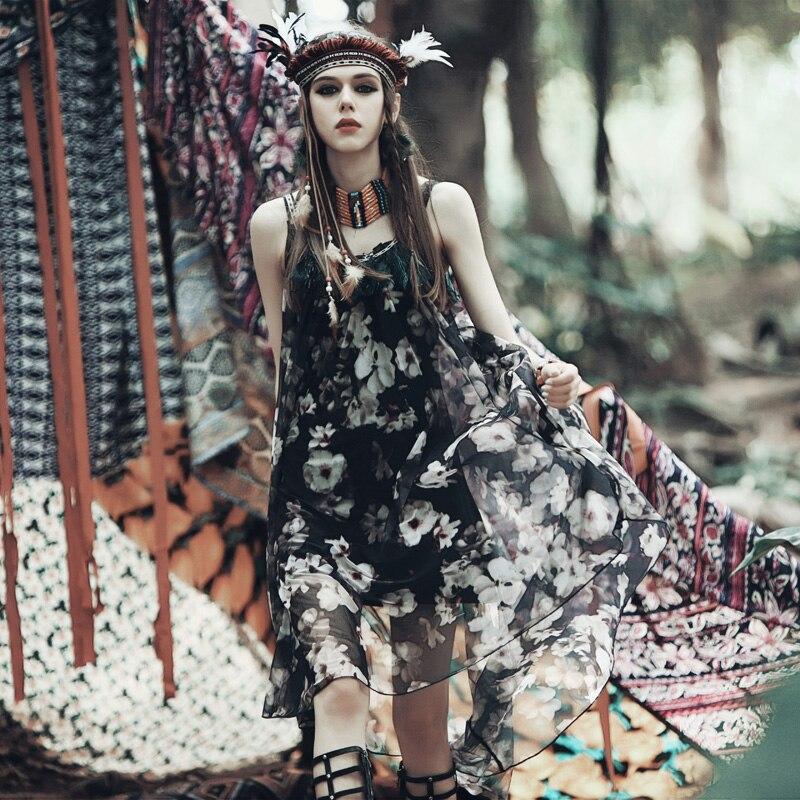 Aporia. AS летнее этническое сексуальное открытое платье с открытой спиной на тонких бретельках с цветочным принтом, повседневное пляжное свободное высококачественное шифоновое длинное платье - Цвет: Многоцветный