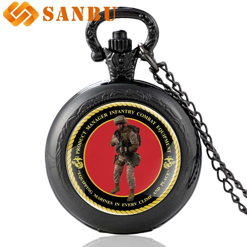 Retro Black Military Quartz Watch Vintage Marines Soldier Pocket Watch Necklace