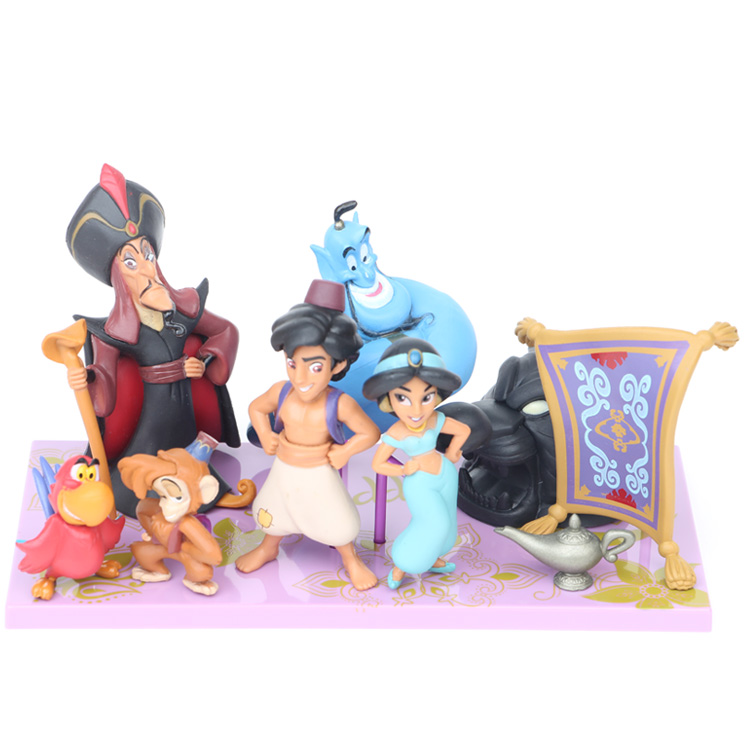Disney 8 Pcs/Set Aladdin Pvc Action Figures Cute Cartoon Princess Jasmine Genie Jafar Mermaid Toys Models Girls Gifts with box 8pcs set the octonauts cartoon action figures kids toys captain barnacles medic peso model children birthday gifts with box