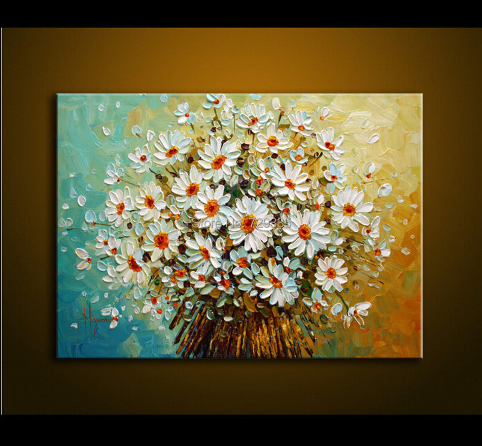Buy modern oil painting palette knife for Flower paintings on canvas