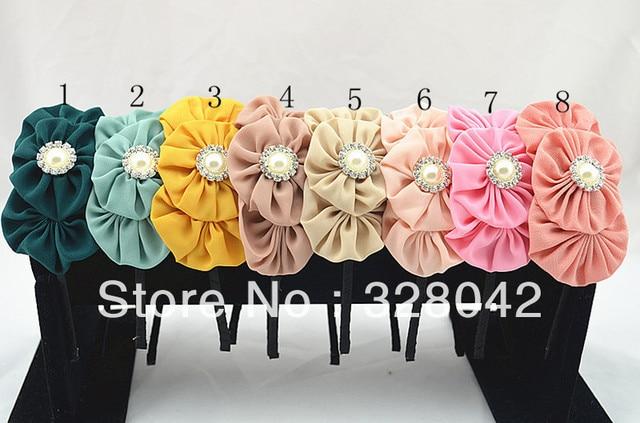 Trail order princess Boutique triple chiffon flower hairband layered fabric flower Pearl centre headbands 20pcs/lot
