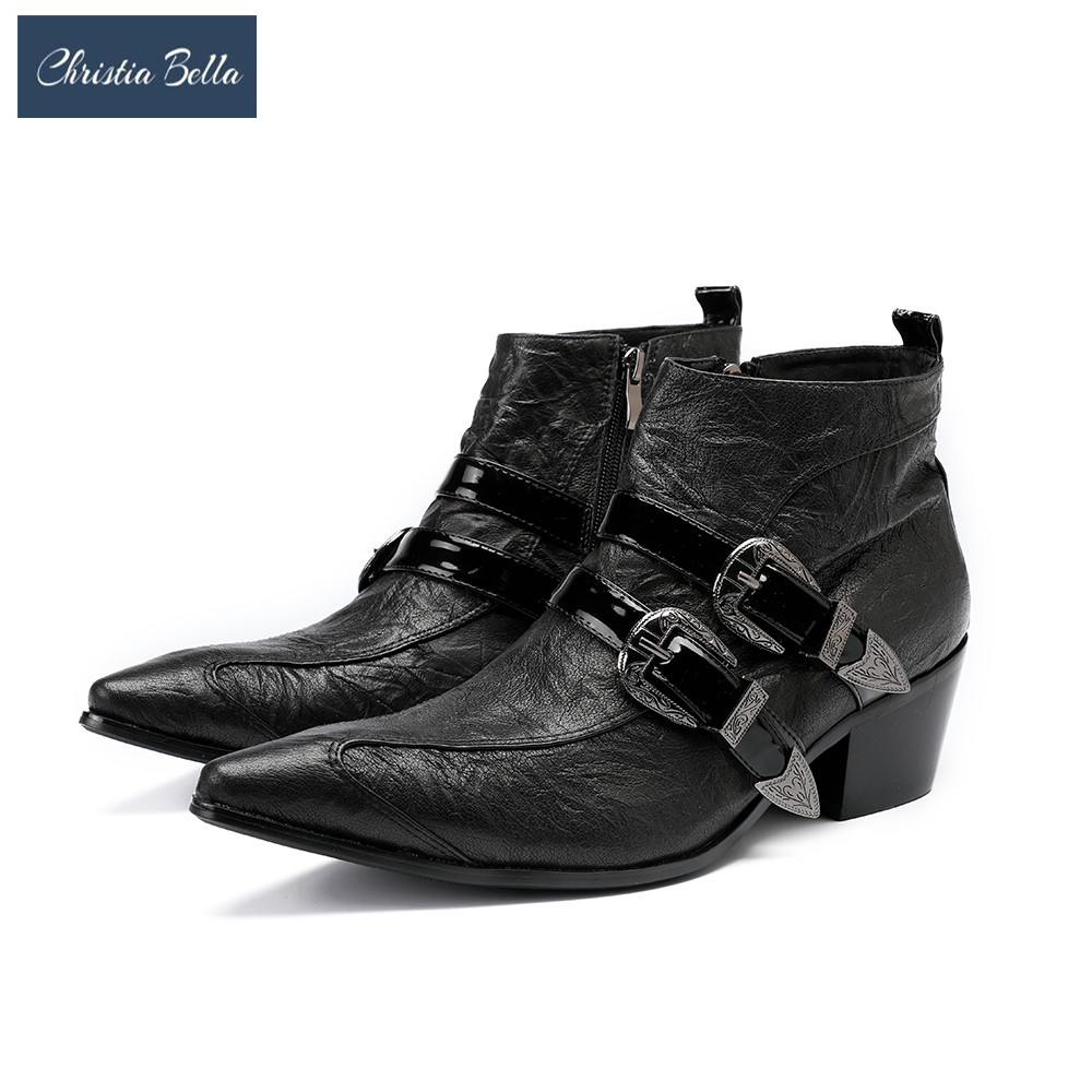 Christia Bella New Punk Style Genuine Leather Men Ankle Boots Lace Up Mens Military Cowboy Boots High Top Buckles Botas Hombre new genuine leather men ankle boots punk style iron pointed toe zip mens military cowboy boots high top buckles botas hombre