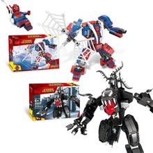 2019 Marvel Spiderman Vs Venom Mech Building Blocks Set Bricks Toys For Children Compatible Legoingly Super Heros 76115 недорого