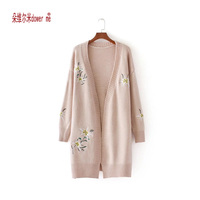 2017 Autumn Long Sleeve Long Cardigan Women Floral Embroidery Sweater Women Loose Large Knitted Cardigan Feminino