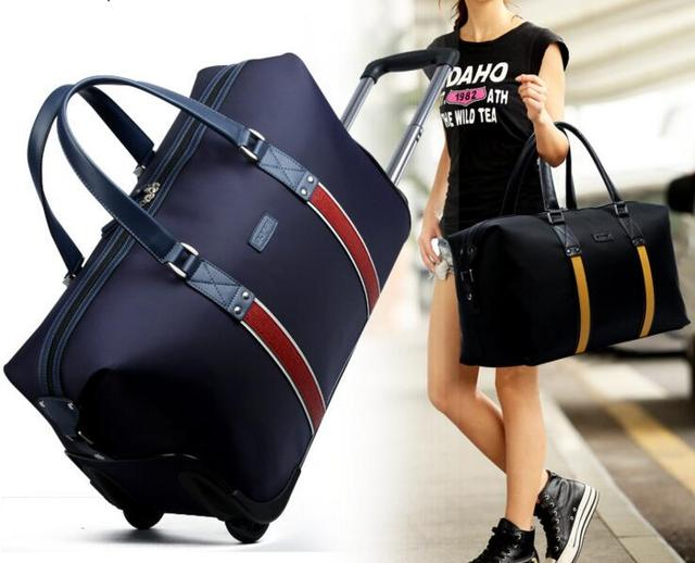 2016 Men and women universal travel bag portable high - capacity travel bag tie rod business package Oxford cloth waterproof bag