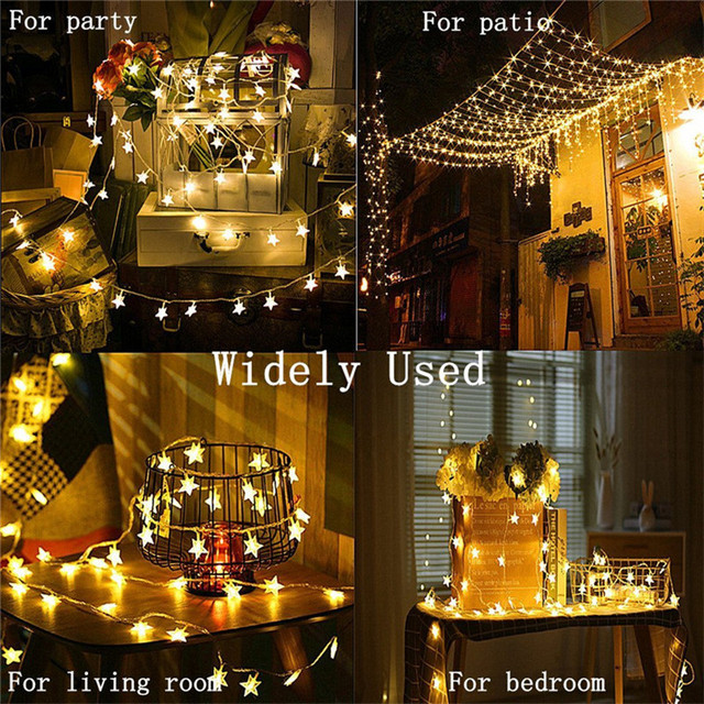 2019 New Year 3m 6m 10m LED String Lights Star Fairy Garland Waterproof for Christmas Wedding Home Decoration Battery Powered