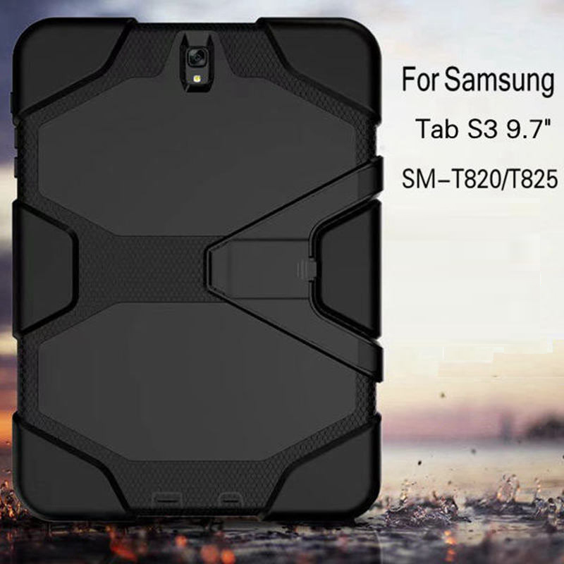 Heavy Duty Armor Hard Hybrid Silicone Safe Cover for Kids for Samsung Galaxy Tab S3 T820 T825 9.7 Tablet Funda Case tire style tough rugged dual layer hybrid hard kickstand duty armor case for samsung galaxy tab a 10 1 2016 t580 tablet cover