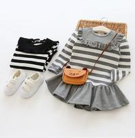 Children's Dress Spring 2017 New Girl Stripe Round neck Casual Dresses 3-7 Year