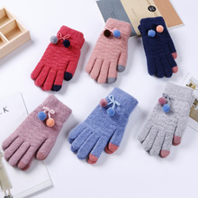 Fashion Winter Women Gloves Touch Screen Gloves for Smartphone Pompom Knitted Mittens Outdoor Warm Five Finger Female Gloves gloves knitted women touch screen 2019 new winter soft rabbit wool knitted gloves warm lovely girls pink heart mittens gloves