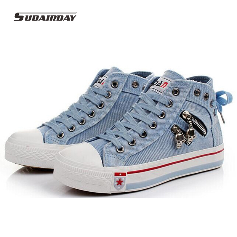2018 Womens Vulcanize Shoes Elevator Denim Canvas Shoes Womens High Casual Shoes after the Bandage Lady Fashion Shoes 35-40