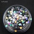 1 caja de 1mm Nail Laser Lentejuelas Sparkles Uñas Brillantes Lentejuelas holograma Hojas Glitter Tips Manicura Del Arte Del Clavo Herramienta Del Clavo de DIY 3 ml