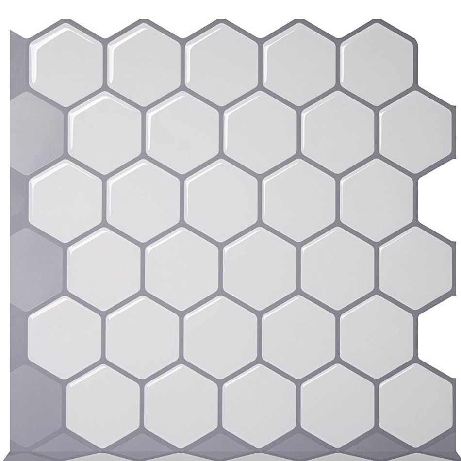 Vividtiles Hexagon Vinyl Sticker Self Adhesive Wallpaper 3D Peel and Stick Square Wall Tiles for Backsplash - 1 Sheet