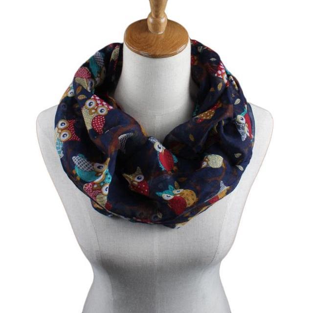 Owl Pattern Print Scarf Women Muffler Ring Collar Ladies Scarves Bib Cotton O Neck Autumn Winter Warm Shawl Echarpe C10