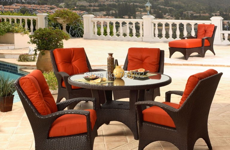 newest design2017 outdoor garden 4 seater wicker luxury dining table and chair set