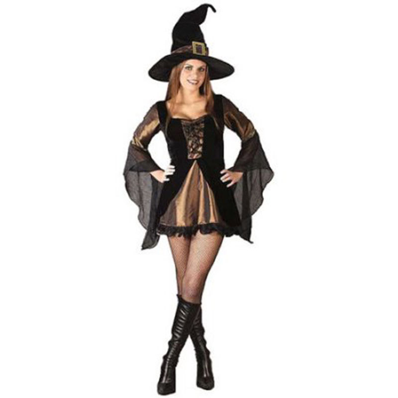 New Halloween Women Witch Costume Mini Dress and Hat Party Lace Up Front Stain Sexy Cosplay Party Clothing Witch Dresses