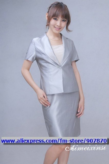 Silver Women Dress Suit Woman Suit Ladies Office Uniforms Women