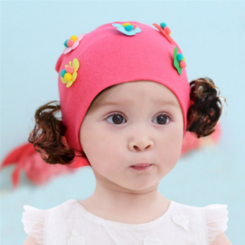 Spring Autumn Baby Hat Cute Girl Earflap Hat Kids Wig Children Casual Floral Design Korean Style Caps With Fake Braid